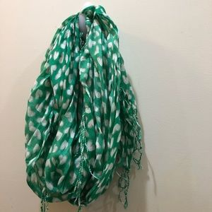 Old Navy Green Neck Scarf with White hearts